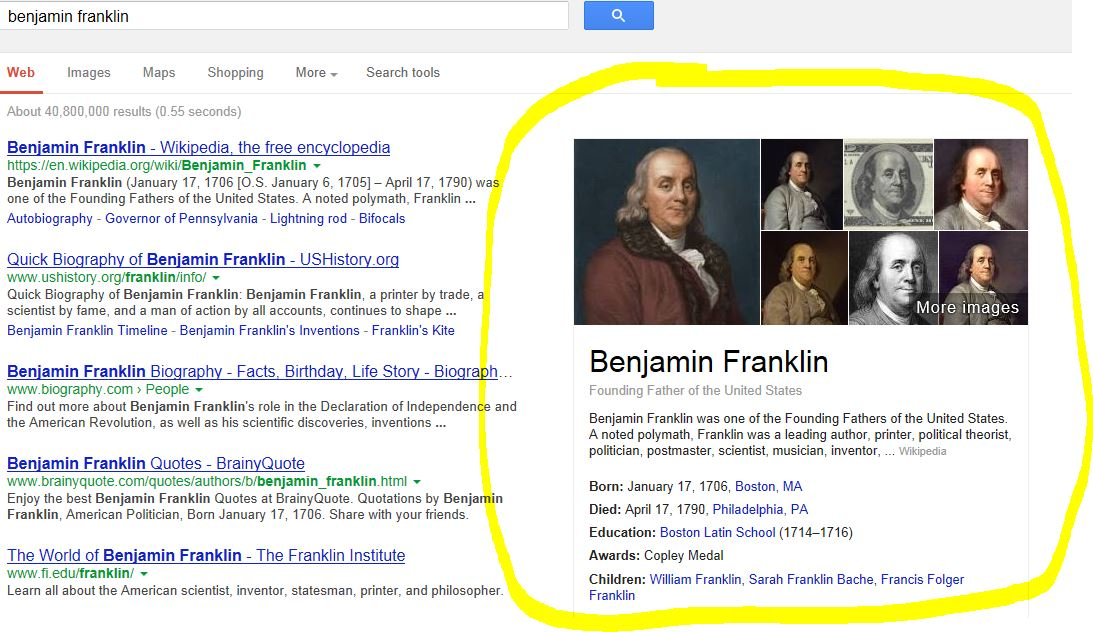 Google Knowledge Graph Result for Benjamin Franklin