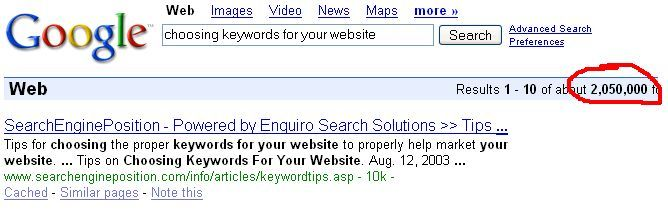 "Google results using ""keywords"""