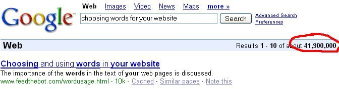 """Google results using """"words"""""""