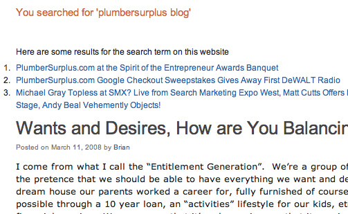 Plumber surplus blog screenshot