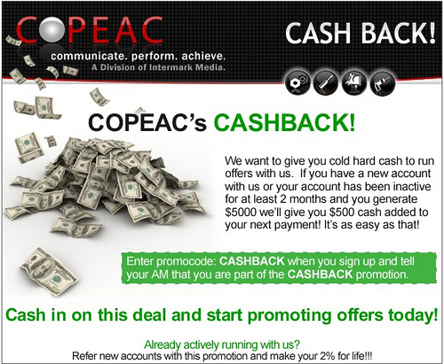 Copeac cash back email marketing