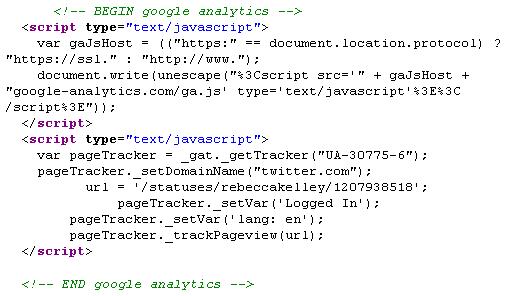 Google Analytics JavaScript working on Twitter