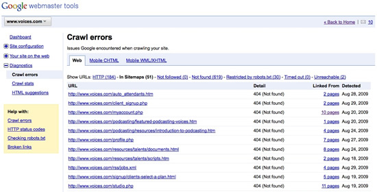 Google Webmaster Tools Crawl Error Report