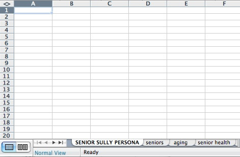 keyword research for a persona categorized in excel tabs