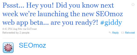 SEOmoz Twitter account promotes web app.