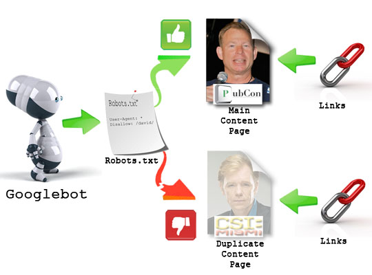 Using robots.txt to prevent search engines from crawling duplicate content.