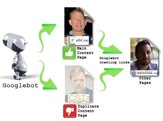 Meta Robots tag - NoIndex,Follow to fix duplicate content.