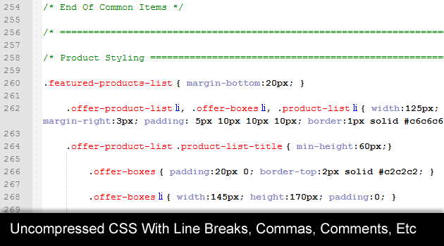 Uncompressed CSS