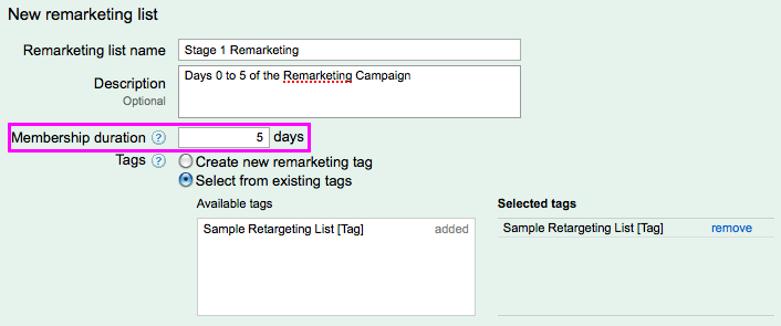 Creating a new remarketing list using an existing cookie