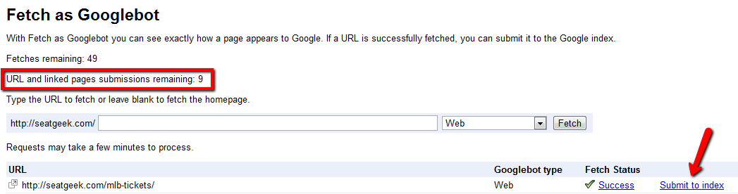 Submit to Google Index via Webmaster Tools