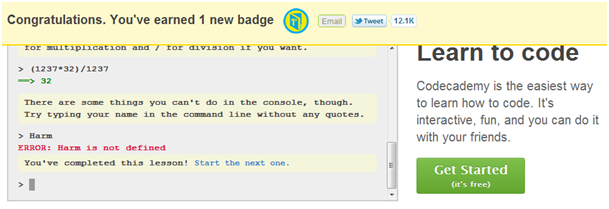 Codecademy's first badge