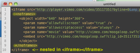 Noframes nested in iFrame