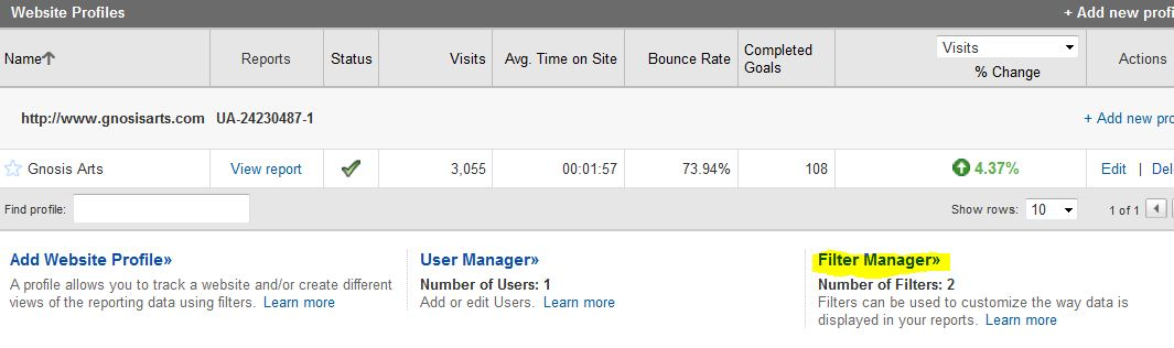 Where to Create the Filter in Google Analytics
