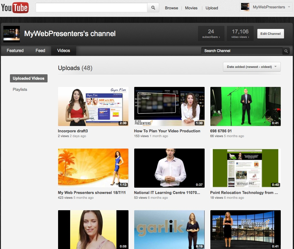 Youtube videos tab