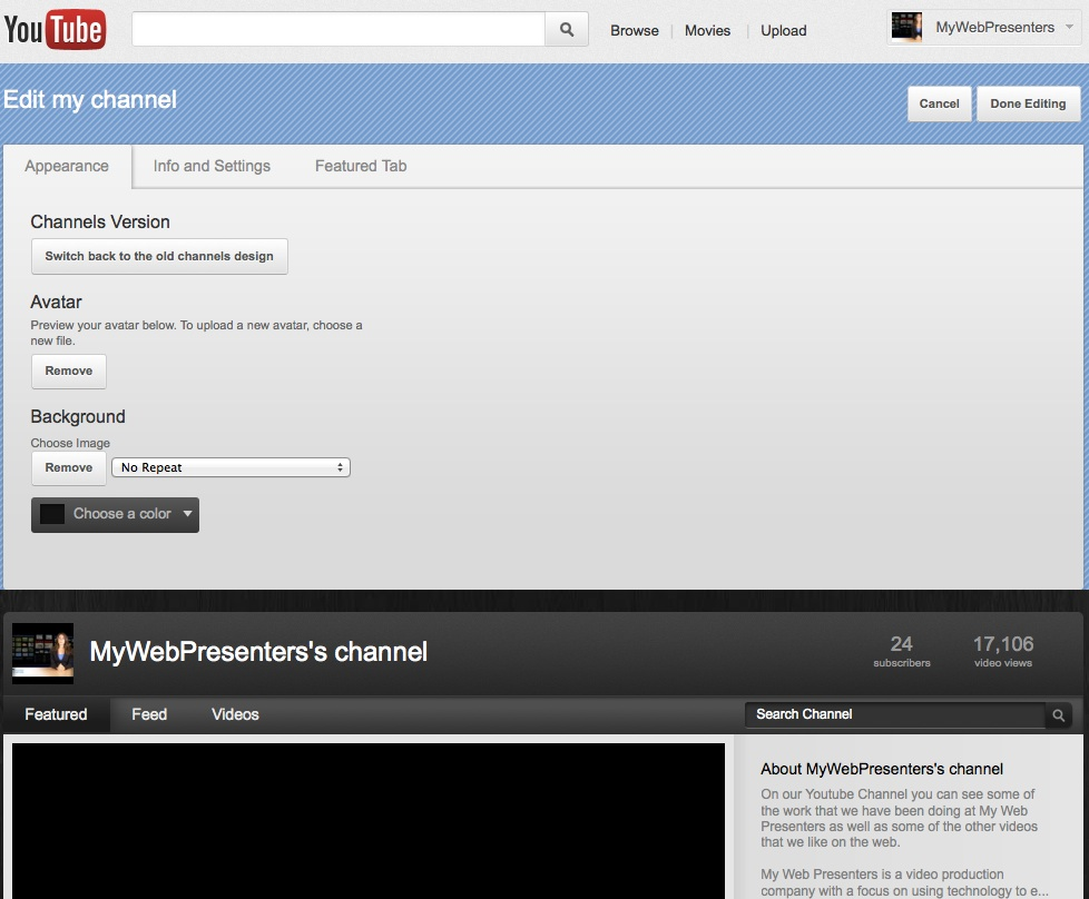Youtube settings