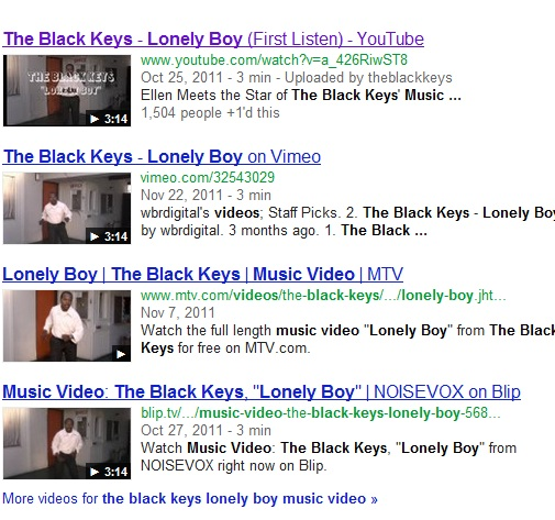 "a search for the music video to the song ""lonely boy"" shows universal video search, not the artist's website."