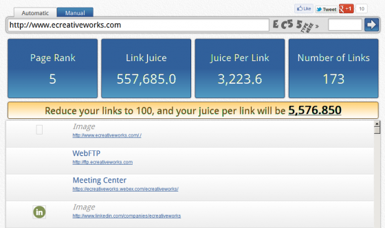 Internal link juice tool in action