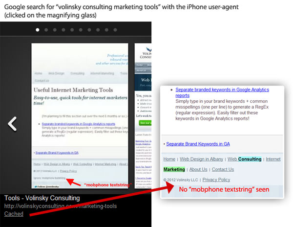 Google Mobile Search = Cached full, desktop site