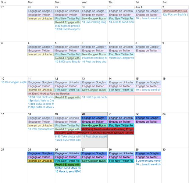 Google Social Media Calendar