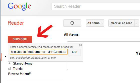 Subscribe using Google Reader