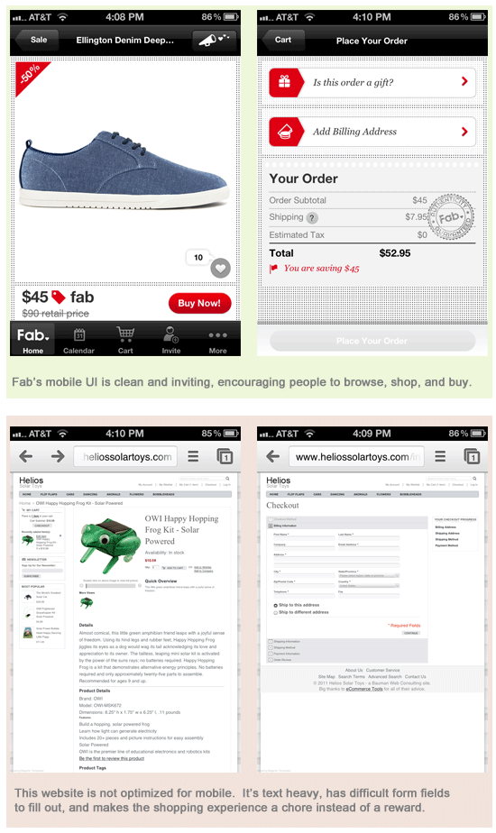 Good mobile eCommerce vs Bad mobile ecommerce
