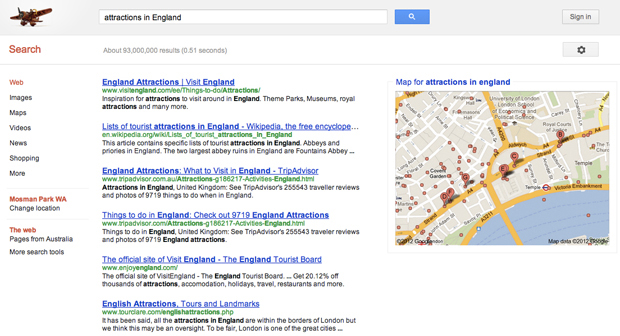 "Search Query ""Attractions in England"" in Google Australia"