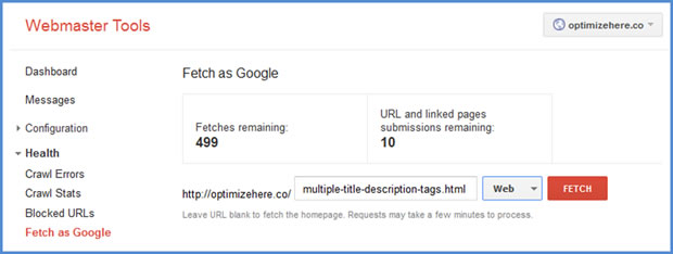 Google Webmaster Tools | Fetch as Google