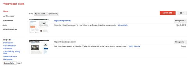 Google Webmaster Tools Home