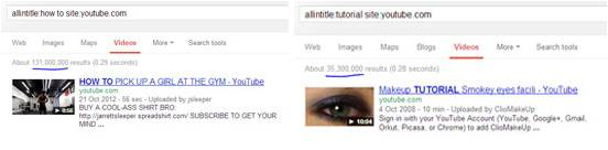 Number of search results in You Tube for How to and Tutorial