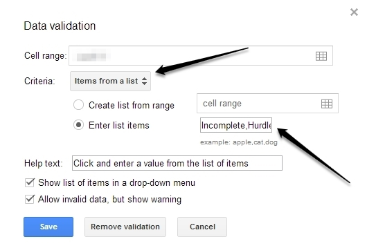 Google Docs Data Validation