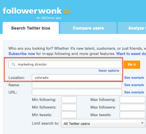 Followerwonk search