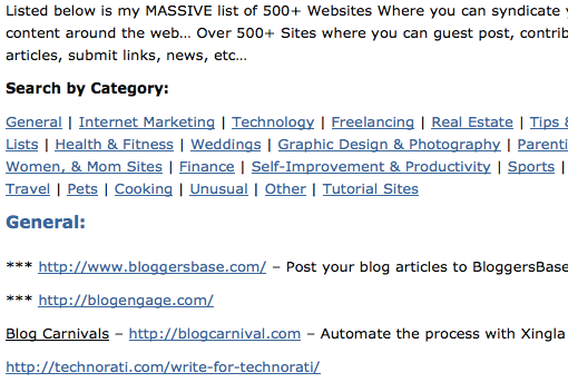 Buzz Blogger 500 Places to Syndicate
