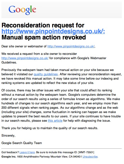 Google Manual Spam Action Revoked