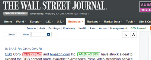 Amazon.com linked to from the Wall Street Journal