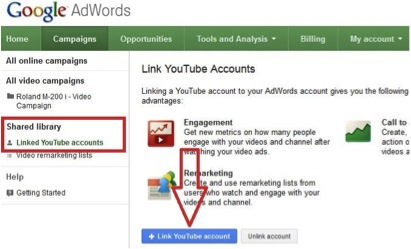 Screenshot showing how to link Adwords to YouTube