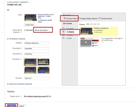 Screenshot showing how to adjust video settings for YouTube ad