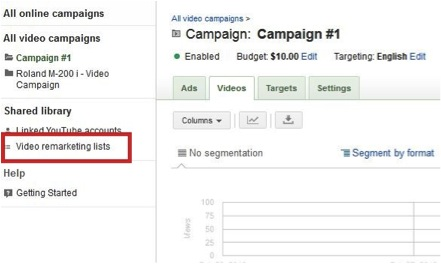 Screenshot showing where to set up Video Remarketing in Google Adwords