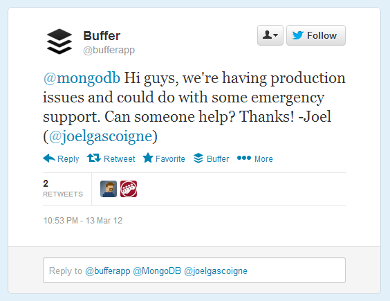 Buferapp asking MongoDB for emergency solution