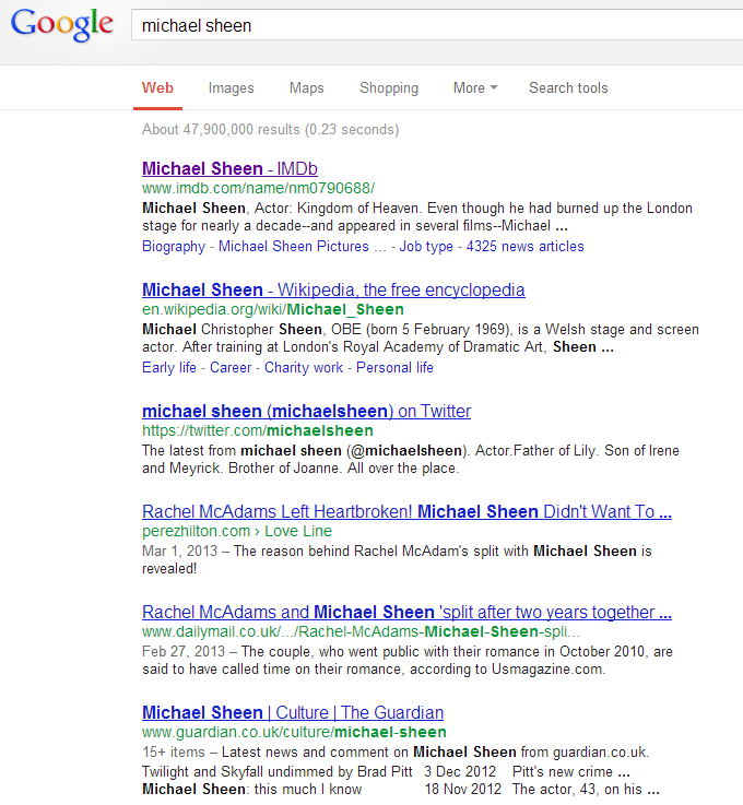 Michael Sheen SERPs