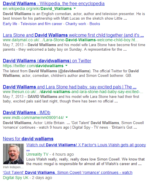 David Walliams Serps