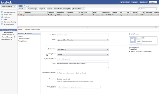 Facebook Sponsored Search Results - Creation