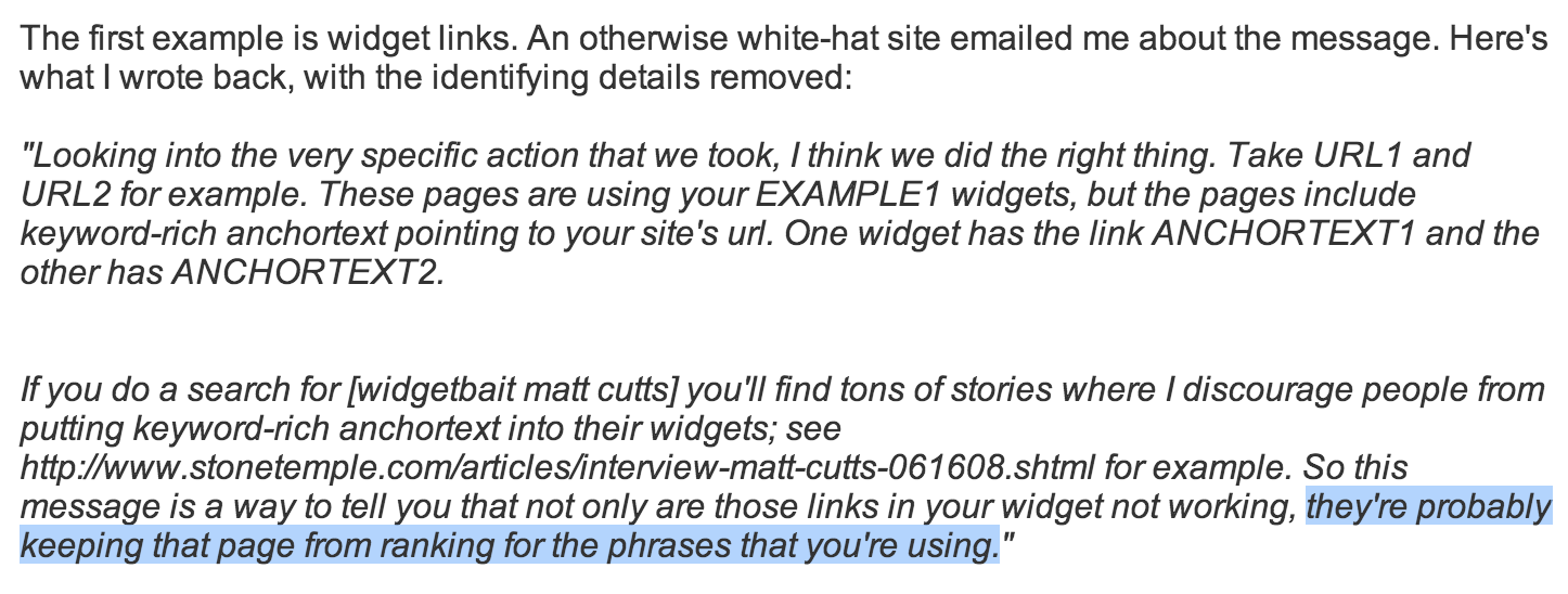 Matt Cutts on Widgets