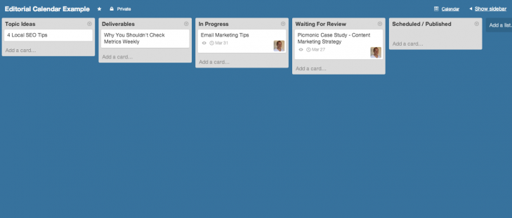 Trello Kanban example for managing your content marketing plan.