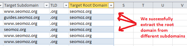 Excel - Root Domain extraction
