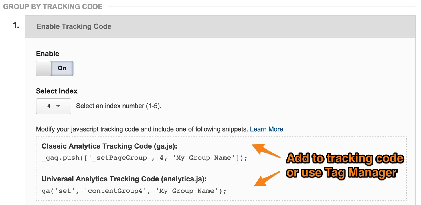 Tracking Code for Content Groupings