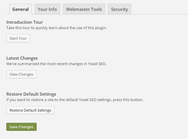 "The ""general"" tab in Yoast settings"