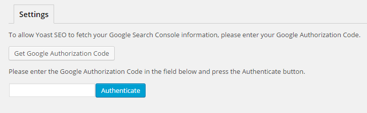 The settings for Search Console in Yoast SEO