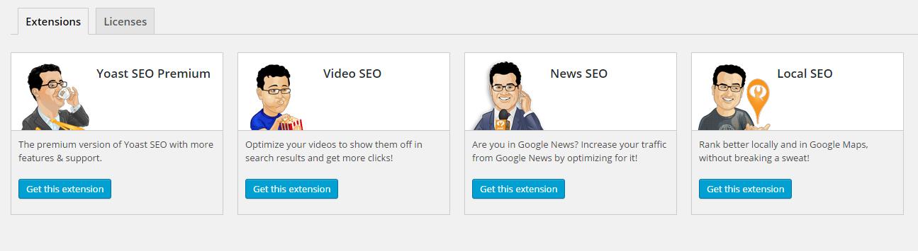 A screenshot of the various premium Yoast SEO extensions.