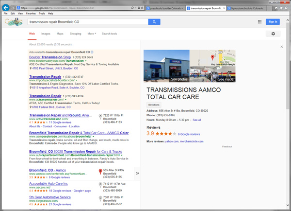 "Screenshot of Google Local Search Results for ""transmission repair Broomfield CO"":"