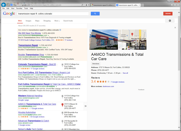 Screenshot of Google Local Search Results for transmission repair Ft. Collins Colorado